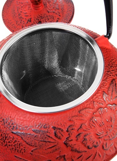 Taşev Linden - Nergis 800 ml Kırmızı Döküm Çaydanlık -Bambum
